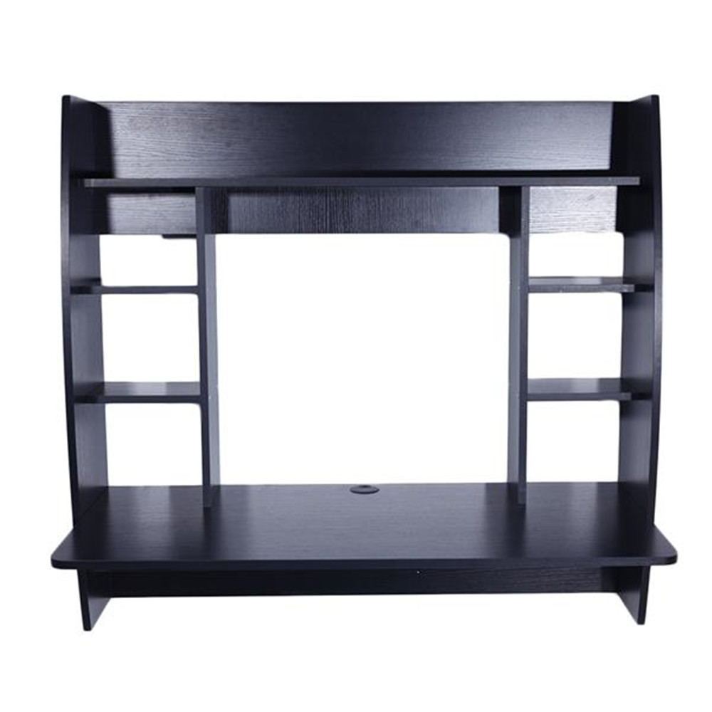Exquisite Room-saving Wall Built-up Computer Desk Black  Wall-mounted Computer Desk With Storage
