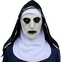 6pcs/Pack Latex Full Head The Nun Scary Masks with Headscarf Costumes Cosplay For Funny Carnival Halloween Scary Party Props