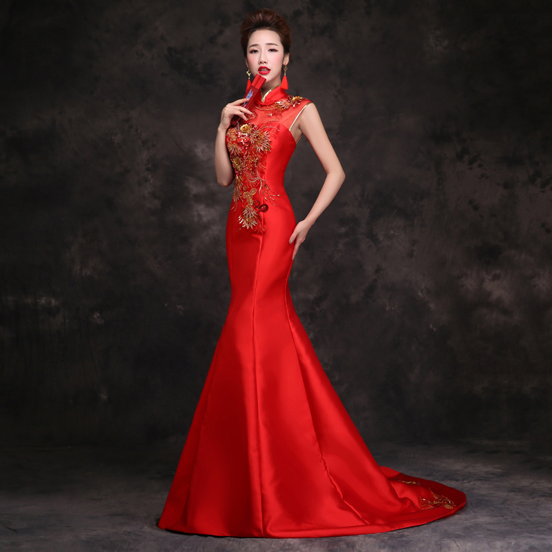 Bride Traditional Chinese Cheongsam Dress Qipao Embroidery Red Mermaid Wedding Gowns Style Chinois Femme Oriental Dresses