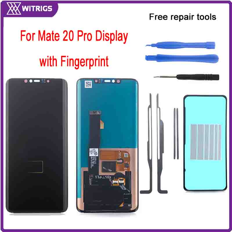 Witrigs For Huawei Mate 20 Pro LCD Display Touch Screen Digitizer Assembly Replacement Original with Fingerprint