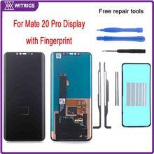Witrigs עבור Huawei Mate 20 פרו LCD תצוגת מסך מגע Digitizer עצרת החלפה מקורי עם טביעת אצבע