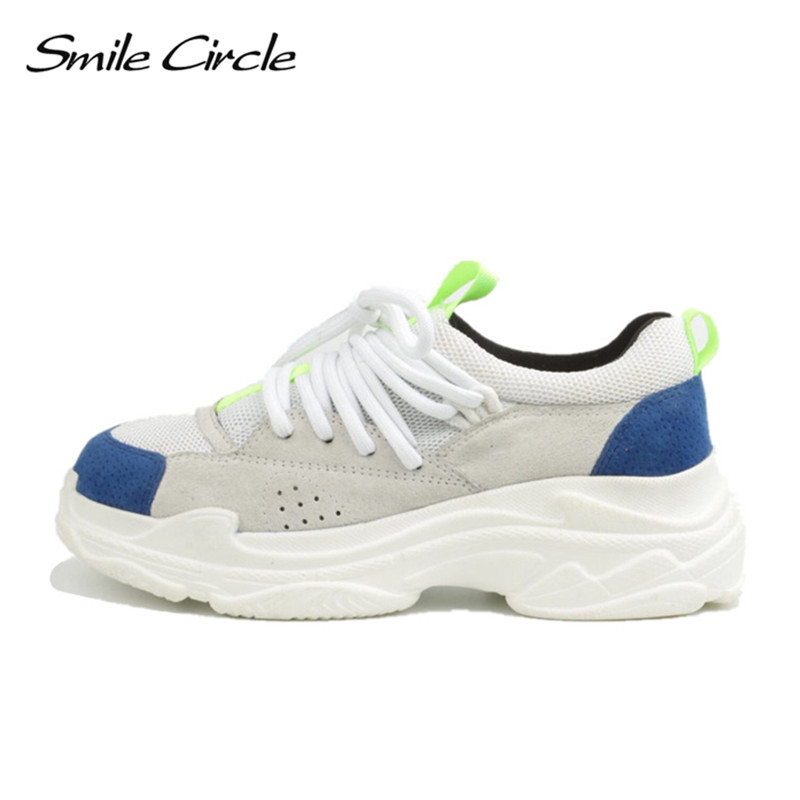 Smile Circle 2018 Spring/Autumn Women Sneakers Genuine Leather Shoes For Women Fashion Lace-up Flat Platform Shoes smile circle spring autumn sneakers women lace up flat shoes for women fashion rhinestones casual platform shoes flat shoes girl