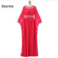 Baijinbai Réel Musulman Robes De Bal A-ligne Manches Longues Paillettes Plissant Islamique Dubai Abaya Caftan Formelle Parti Robe S712504