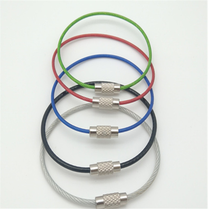 10 шт 1,5/2 мм EDC брелок тег веревка из нержавеющей стали кабель петля винт устройство блокировки Кольцо Брелок Круг лагерный канат фитинги
