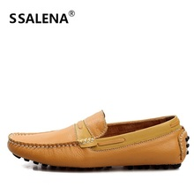 Men Loafers Soft Moccasins High Quality Autumn Sping Genuine Leather Shoes Men Slip On Flats Driving Shoes AA20364