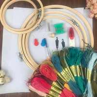 5 Pieces Bamboo Cross Stitch Embroidery Hoops 50pcs Threads Scissors Needles Sewing Accessories For Women Embroidery Starter Kit