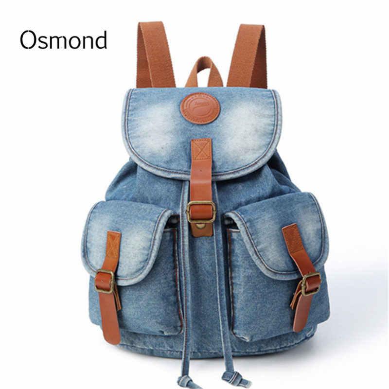 5b5ee0f13e81 Осмонд женственный Винтаж джинсовые рюкзаки для девочек-подростков Для  женщин сумки на ремне Женский Колледж
