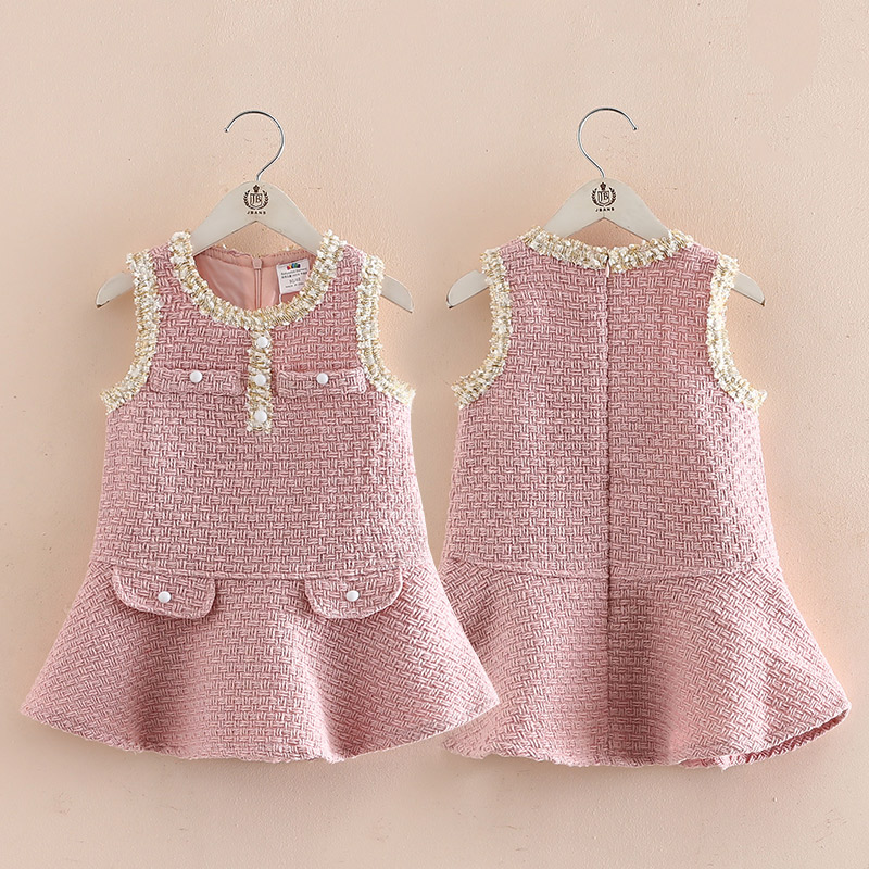 New Baby Winter Girls Warm Clothes Kids Pink Vest Princess Dress Free Shipping