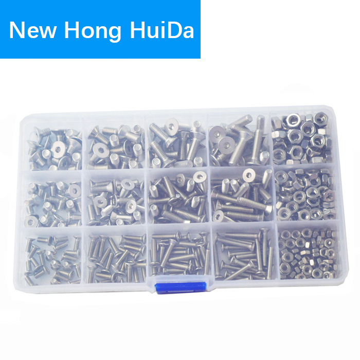M5 304 Stainless Steel Hexagon Socket Head Cap Screws Hexagon Socket Head Screw Head Mechanical Parts Bolt and Nut Combination Box