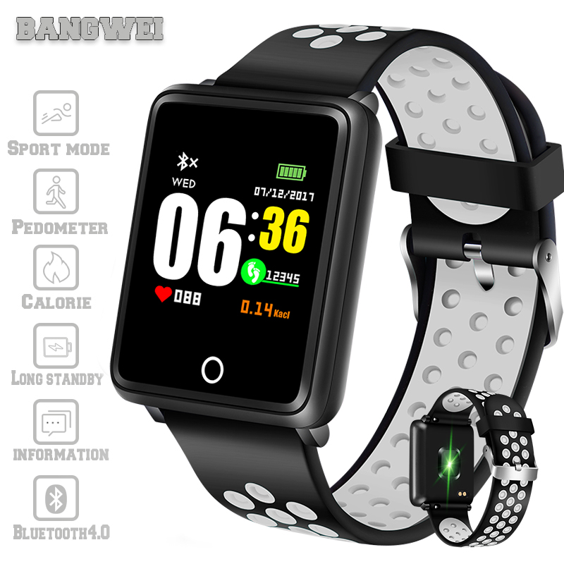 2019 LIGE New Smart Watch Men LED Color Screen Blood Pressure Heart Rate Monitor Fitness Tracker Sport Watch For Android IOS+box