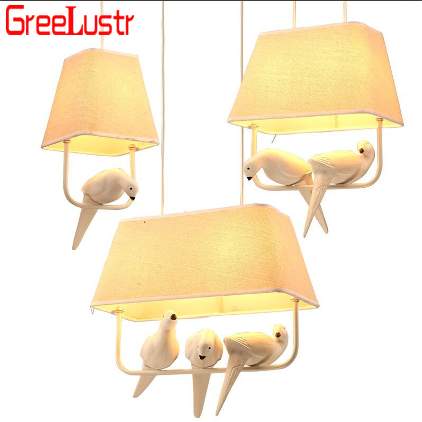 Lustres Rural Birds Pendant Lights Vintage Hanglamp Luminarias teto sala for Home Lighting Lampara Colgante Cloth lampshade E27Lustres Rural Birds Pendant Lights Vintage Hanglamp Luminarias teto sala for Home Lighting Lampara Colgante Cloth lampshade E27