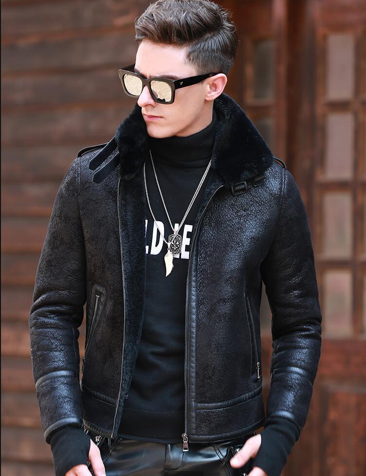 Мужское зимнее меховое пальто, тонкая Толстая кожаная куртка высокого качества, мужская зимняя куртка бомбер, верхняя одежда, новое поступл