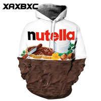 2018 nowy 061 jesień Nutella czekolady 3D drukowane kobiety bluza z kapturem bluza z kapturem Femme dorywczo luźne mężczyźni kieszeni bluzy z kapturem płaszcz
