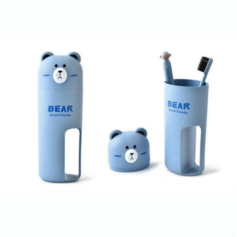 1 Set Umweltfreundliche Nette Bär Waschen Set Zahnbürste Zahnpasta Lagerung Tasse Für Reisen Tragbare Verpackung Veranstalter äSthetisches Aussehen