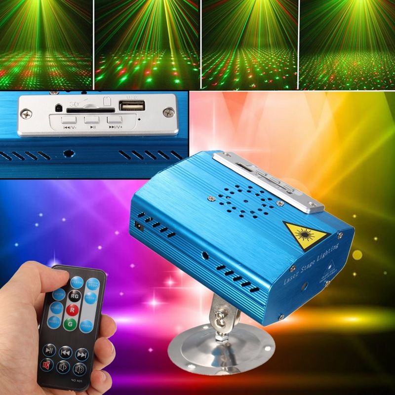 Mini LED Stage Light USB Projector Laser Stage Lighting Effect Home Party KTV DJ Club Pub Bar Lamp With Remote Control home entertainment new mini stage lamp beautiful lighting projector 3w led projection lamp low price high quality ktv party lamp