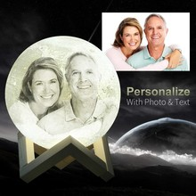 Photo Custom Personality 3D Print Moon Lamp