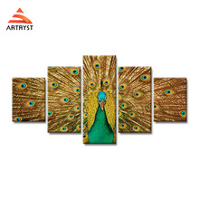5 pieces home decor canvas painting beautiful peacock open poster HD printing on wall art picture for the living room
