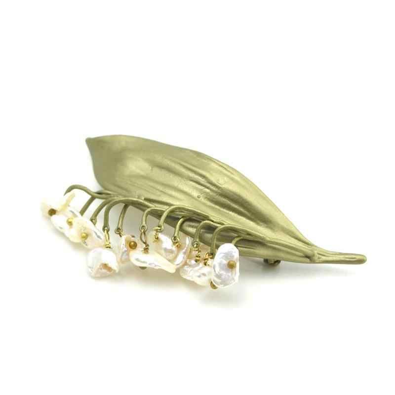KEQIU Giappone Corea Europa Stati Uniti Accessori Vintage Valle Giglio d'acqua dolce naturale della perla retrò a forma di spilla pin donne