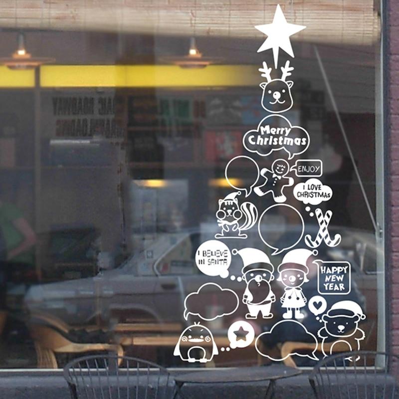 DCTAL Cartoon Christmas tree glass window wall sticker decal home decor shop decoration X mas xmas093