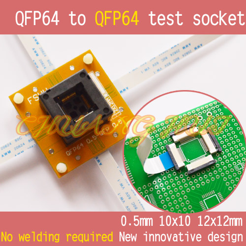 2017 new No welding QFP64 to QFP64 test socket QFP64 TQFP64 Pitch=0.5mm Size=10x10mm 12x12mm