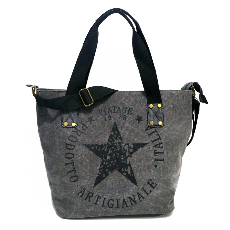 Rdywbu BIG STAR PRINTING VINTAGE CANVAS SHOULDER BAG - Women's Plus Size Multifunctional Travel Tote Handbag Letters Bolsos B201
