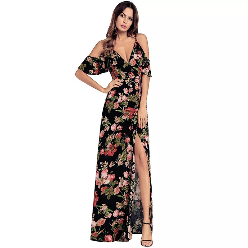 MingJieBiHuo Fashion women <font><b>elegant</b></font> korean <font><b>dress</b></font> new arrival OL office <font><b>sexy</b></font> v-neck spaghetti strap <font><b>beach</b></font> <font><b>boho</b></font> print long <font><b>dress</b></font> image