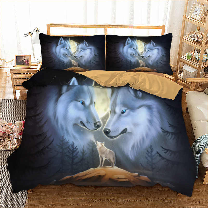 Double wolves printed bedding set Twin Full Queen single Sizes Animal Duvet Cover set 100% polyester bed linens set new 3pcs