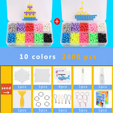 DOLLRYGA 10Colors 2400PCS Magica Beads Solid Bead Refill Pack Water Sticky Board Set Puzzle Toy For Children