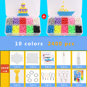 DOLLRYGA 10Colors 2400PCS Magica Beads Solid Bead Refill Pack Water Sticky Beads Board Set Water Bead Puzzle Toy For Children