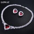 Loway mulheres conjunto de jóias de casamento colar de coração/brincos vermelho branco cubic zirconia lady luxo jewellry xl1906