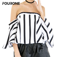 FOURONE Women Sexy Off Shoulder Trumpet Sleeve Black White Striped Chiffon Blouse Shirts