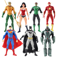 7pcs/setJustice League Action Figures Superman Batman Flash Aquaman Wonder Woman Cyborg Green Lantern hot lifelike gift kid
