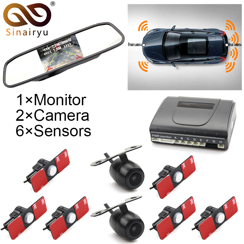Car Parking Sensors 13mm Flat Sensors Reverse Backup Radar With Front Camera And Rear Camera And 5 Car Video Monitor dual channel video car 6 pcs 13mm flat parking sensors reverse backup radar system with front view camera and rear view camera