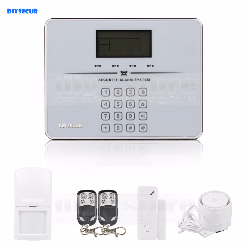 DIYSECUR Touch Keypad Wireless GSM PSTN Intercom Mornitor House Intruder Alarm System Voice Prompt White etiger gsm pstn intruder alarm system for home office wifi network camera ir beam detector 100m