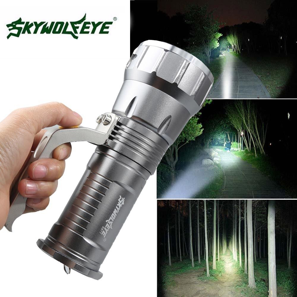 SKYWOLFEYE High Power 5000LM XML T6 LED Flashlight Torch Rechargeable Zoomable 18650 Searchlight Portable Outdoor Flash Light high quality zoomable cree xml t6 model 1000 lm led outdoor long shots flashlight 18650 torch high light