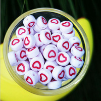 Free Shipping 4*7MM Acrylic Heart Beads 3500pcs/Lot white with Hollow Out Red Hearts printing Plastic Spacer Jewelry Beads
