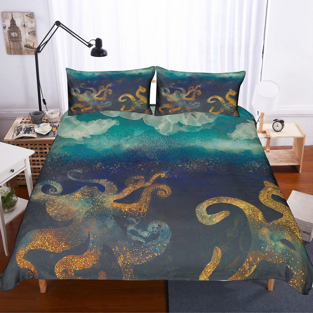 Bedding 3d Printed Blue/gloden Octopus In Deep Sea Microfiber Duvet Cover Sea Animals Theme Kids Bedding Set 3 Pieces With 2 Pillowcase To Rank First Among Similar Products