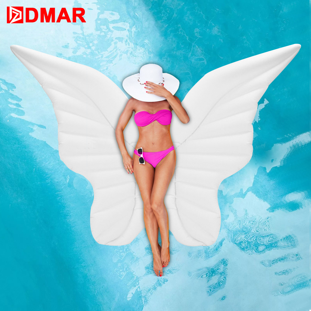 DMAR Inflatable Angel Wings Giant Pool Float Toys Water Float Inflatable Mattress Swimming Ring Beach Sea Party Flamin