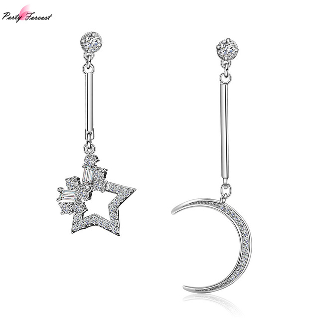 5475f7293 PF Fashion Silver Chain Earrings Moon Star Suspension Irregular Ear Ring  Chains Crystal Earring Jewelry For