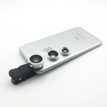 Univerasl Clip on Mobilephone 3in1 lenses Fisheye Wide Angle Macro Lens For iphone 5 5s 6 Samsung Huawei Xiaomi For Smartphone