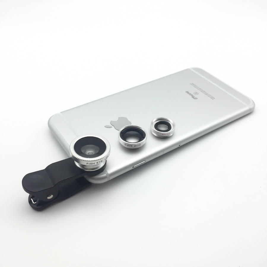 Universal Clip on Mobilephone φακοί 3in1 Fisheye Wide Angle Macro Lens For iphone 5 5s 6 Samsung Huawei Xiaomi For Smartphone