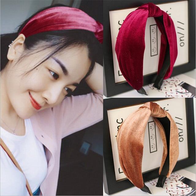 2018 korean fashion gold velvet knot hairband women girls hair head hoop bands  accessories for women hairbands headdress tiara ba2a06172ce