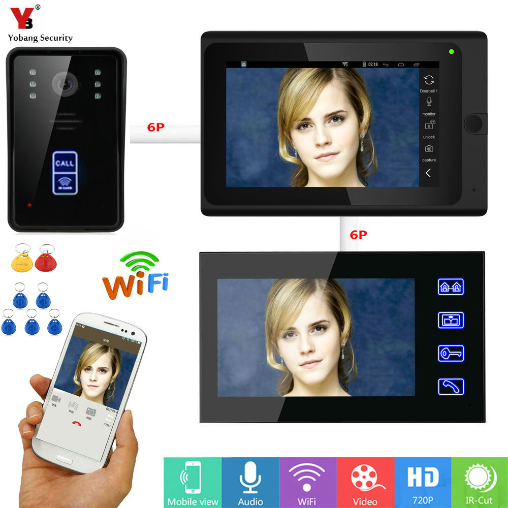 Yobang Security APP Unlock WIFI Video Intercom 1000TVL HD IR Camera Max Support  64GTF Card Wireless/Wired Doorbell Doorphone