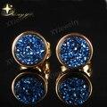 Azul Rodada Colorido Quart Naturais Ágata Druzy (Drusy) Brincos Do Parafuso Prisioneiro para As Mulheres Banhado A Ouro Dom Christma XYE100654BL
