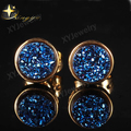 Blue  Round Colorful Quart Natural Agate Druzy(Drusy) Stud Earrings for Women Gold Plated Christma Gift XYE100654BL