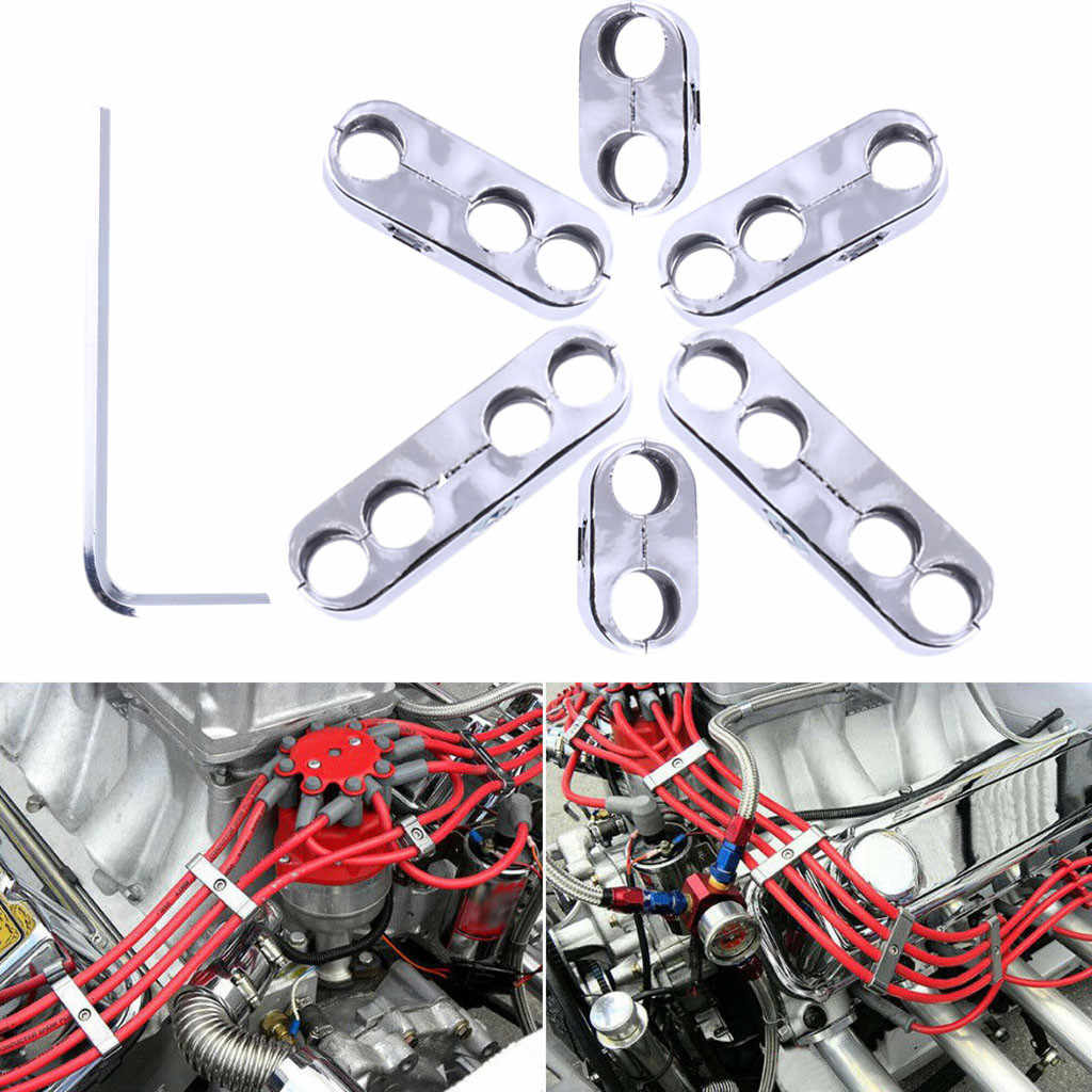 Chrome Spark Plug Wire Separators Dividers Looms For Chevy Mopar 7mm 8mm New
