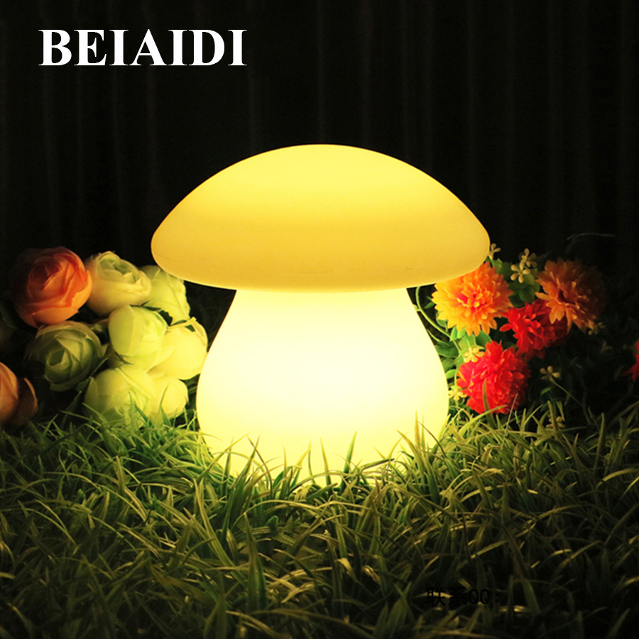BEIAIDI IP65 Rechargeable Mushroom Led Night Light With Remote 16 Color Bedroom Reading Desk Table Lamp Best Gift For Wedding beiaidi 7 color usb rechargeable rabbit led night light dimmable animal cartoon light with remote baby kids christmas gift lamp
