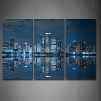 3 Panels Unframed Wall Art Pictures Blue Buildings Chicago Canvas Print Modern City Posters No Frames For Living Room