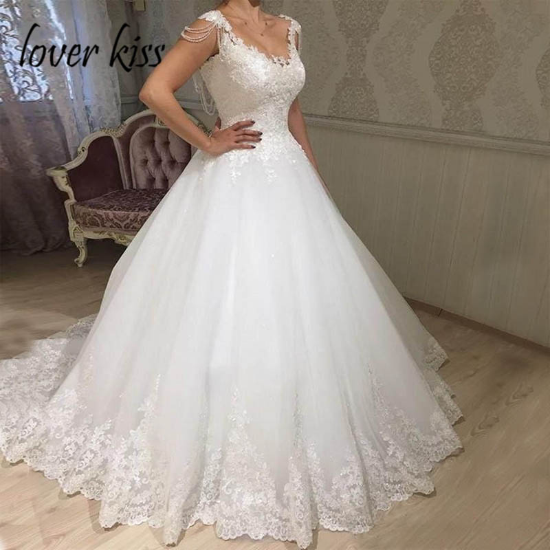 Lover Kiss Vestido De Noiva Modest Lace Appliques Wedding Dress Crystal Tassel Corset Summer Weddings Bridal