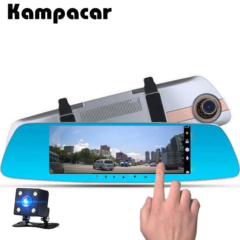 Kampacar Two Lens Dual Dash Camera Touch Mirror DVRs 7 Car Dvr Mirror With Rear View